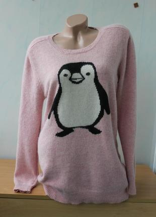 Джемпер свободного кроя с пингвином на высокую девушку, kurt m...