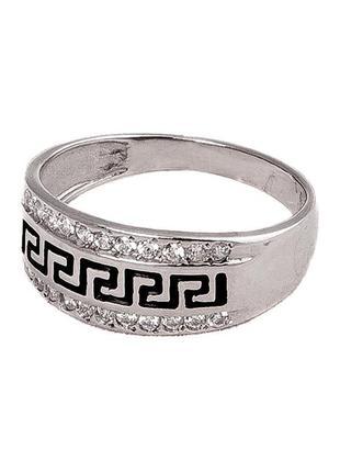 Кольцо из серебра 925 пробы с покрытием из родия «греция» с эм...