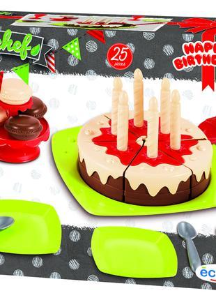 """Игровой набор посуды Ecoiffier """"Happy Birthday"""" с тортом, 25 а..."""