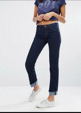 Женские темно синие плотные прямые джинсы средняя посадка зима...