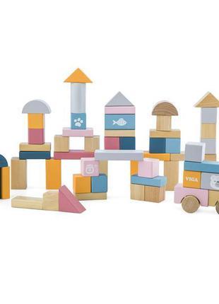 Деревянные кубики Viga Toys PolarB Пастельные блоки, 60 шт., 2...
