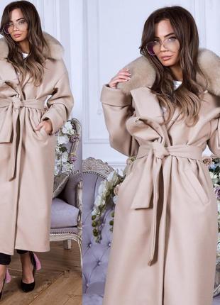 Пальто зимнее под пояс мех песец
