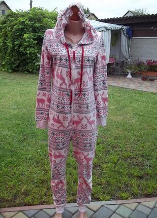 44 р флисовый комбинезон пижама кигуруми женский