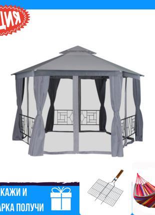 Дачный шатер павильон с москитной сеткой серый 4x4х2.75 м +2 П...