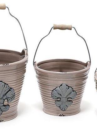 Набор кашпо (3шт) в форме ведер, Королевская лилия BonaDi 794-P10
