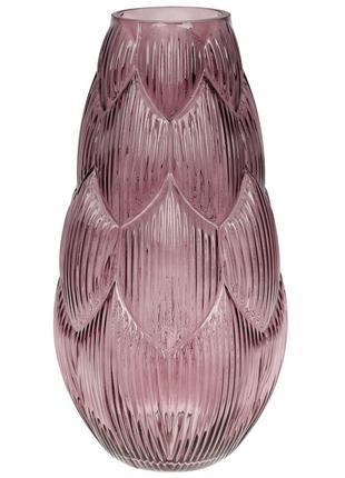 Ваза стеклянная Артишок, 35см, цвет - фиолет BonaDi 591-238
