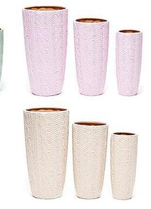 Набор керамических ваз (3шт) Вязание, 6 видов BonaDi 732-V007