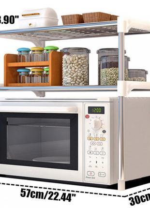 Настольный кухонный стеллаж под микроволновку с полками для по...