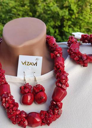 Набор бусы браслет и серьги. коралл, натуральный камень