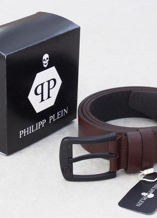 Мужской кожаный ремень коричневый philipp plein