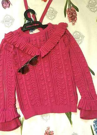 Стильный малиновый свитер джемпер с рюшами от by very