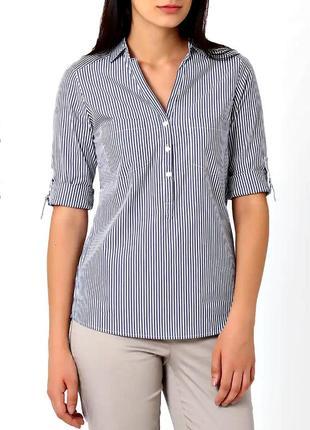 Стильная блузка-рубашка в сине-голубую полоску р.14