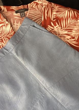 Кожаная (кожзам) юбка-трапеция/а-силуэта в стиле zara