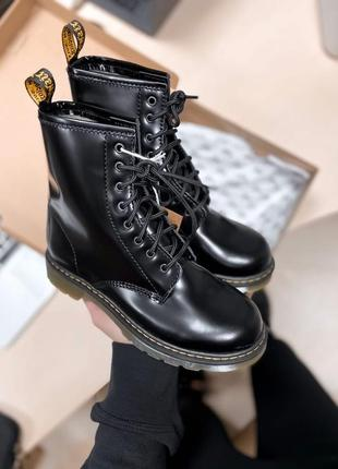 Модние ботинки женские ❄зимние dr.martens black fur с мехом