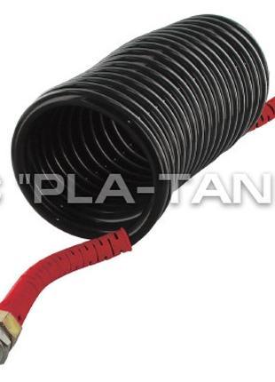Шланг пневматический спиральный черный с красными наконечникам...