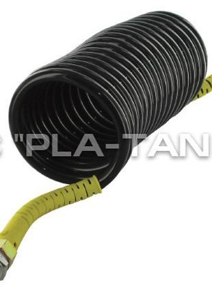 Шланг пневматический спиральный черный с желтыми наконечниками...