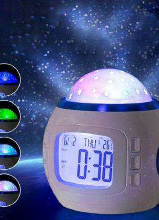 Музыкальный ночник-проектор звездное небо 1038 с часами и буди...