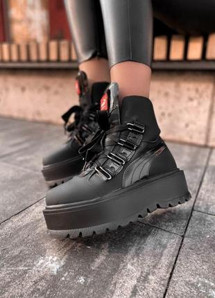 Шикарные женские чёрные ботинки на платформе puma x fenty by r...