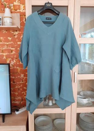 Асимметричное льняное платье туника большого размера