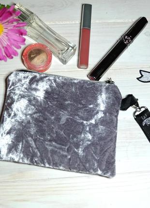 Клатч из велюра, мини-сумочка на руку