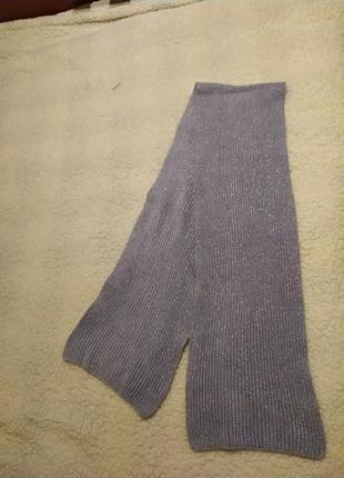 Вязаный шарф сиреневый с люрексовой нитью