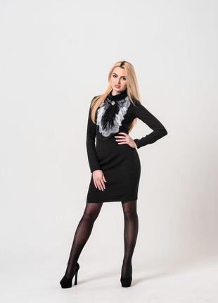 Элегантное черное платье из костюмной ткани, размер 42-44