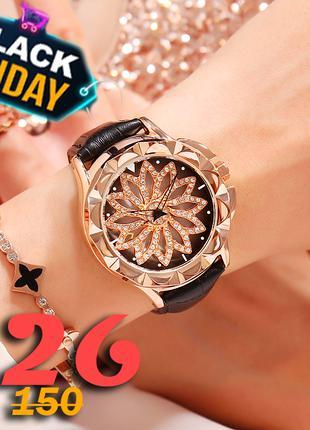 Роскошные женские часы с вращающимся циферблатом