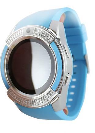 Умные смарт часы Smart Watch V8 голубые
