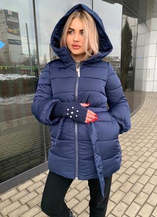 Куртка зимняя теплая пальто пуховик с вязаным рукавом зефирка