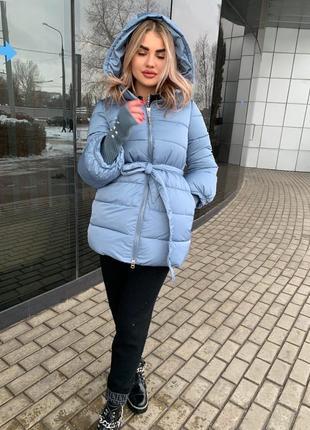 Теплая зимняя куртка с поясом зефирка