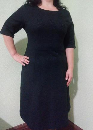 Элегантное чёрное жаккардовое платье