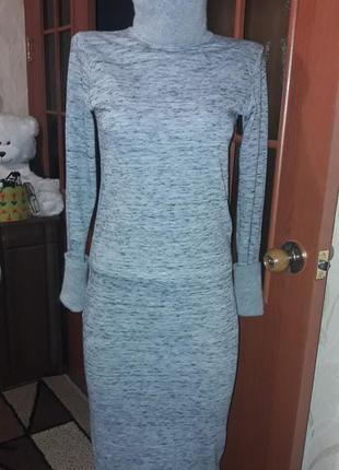 Платье с воротом, ангора, миди