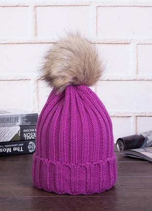 Яркая вязаная шапка с помпоном арт. 1333