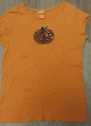 Яркая оранжевая детская футболка helloween
