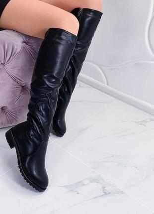 Зимние сапоги на низком каблуке, зимние сапоги на меху