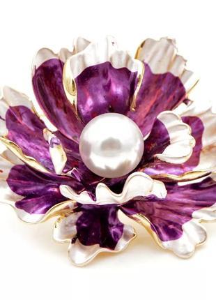 Очень красивая  брошь цветок пиона
