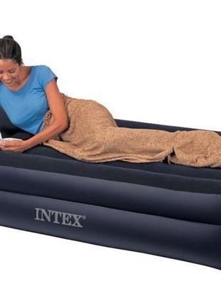 Надувная кровать велюровая Intex 64122 Pillow Rest Raised Bed ...