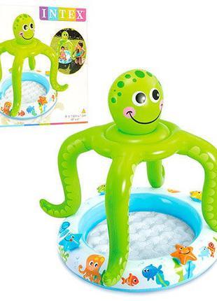 Круглый надувной бассейн с навесом для детей от 1 года «Осьмин...