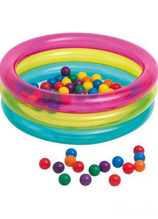 Надувной бассейн для детей от 1 года в комплекте 50 шариков In...