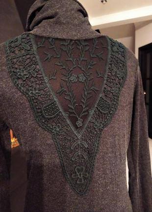 Гольф свитер теплый кружево кружевной