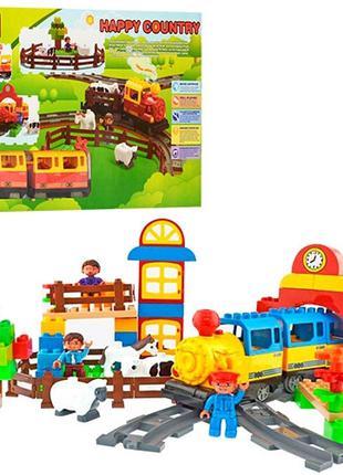 Детский конструктор железная дорога с паровозиком со звуковыми...