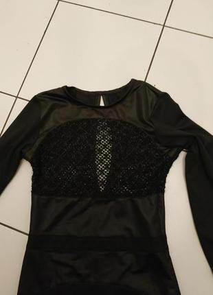 Черное нарядное платье сетка атлас мокрый трикотаж