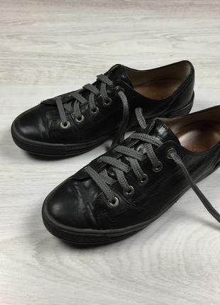 Красивые женские кожаные кроссовки кеды gabor черные!