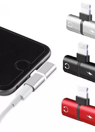Сплиттер 2в1 для наушников и зарядки Lightning IOS apple adapter