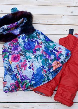Детский зимний комбинезон цветы для девочки