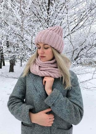 Женский набор комплект шапка хомут