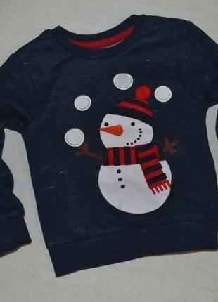 Детский новогодний джемпер кофта со снеговиком primark