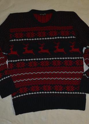 Мужской новогодний джемпер кофта с оленями