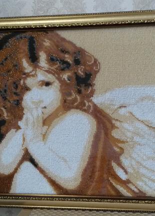 """Картина бисером """"Ангел"""".Декор ручной работы"""