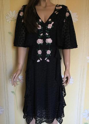 Шикарное платье миди с вышивкой nui very размер 14/16